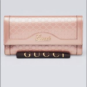 GUCCI Pink Guccissima Embossed  Leather  Wallet